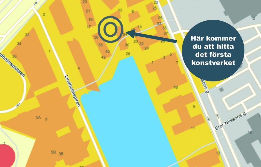 Lindholmshamnens första konstverk kommer att placeras mellan husen och består av en flera meter hög valvport.